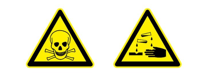 Warnsymbole für giftige und ätzende Substanzen